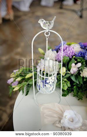 Wedding Decor, White With A Bird Cage