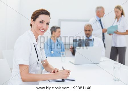 Team of doctors working together in medical office