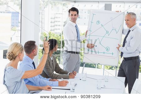 Businessman explaining the graph on the whiteboard in the office