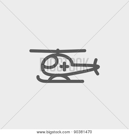 Air ambulance icon thin line for web and mobile, modern minimalistic flat design. Vector dark grey icon on light grey background.
