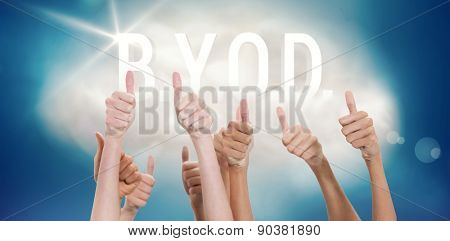 Thumbs raised and hands up against byod on a floating cloud