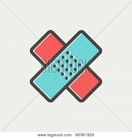 Adhesive bandage icon thin line for web and mobile, modern minimalistic flat design. Vector icon with dark grey outline and offset colour on light grey background.