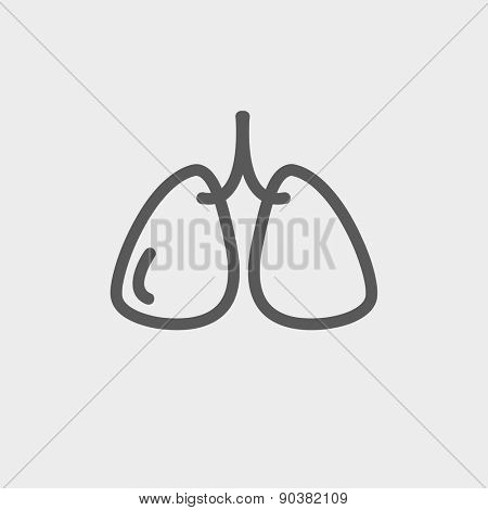 Lungs icon thin line for web and mobile, modern minimalistic flat design. Vector dark grey icon on light grey background.
