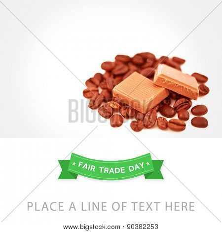 Fair Trade graphic against two pieces of chocolate on coffee seeds