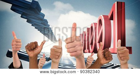 Hands showing thumbs up against 3d binary code in sky