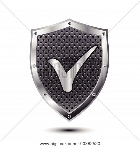 Metallic shield with check mark