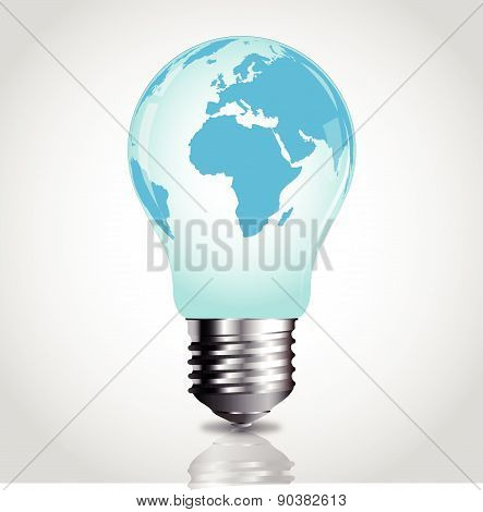 Lightbulb with world map