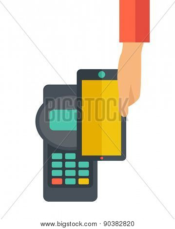 A credit card machine and smartphone as use for internet shopping. A contemporary style. Vector flat design illustration with isolated white background. Vertical layout