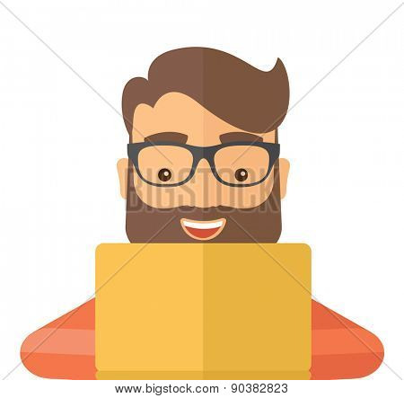 Man making a purchase using laptop with internet in online shopping with promo discount. A contemporary style. Vector flat design illustration with isolated white background. Square layout.