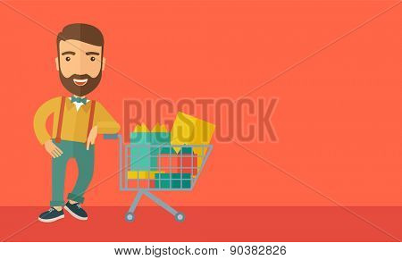 A happy man standing with his shopping cart. A Contemporary style with pastel palette, soft orange tinted background. Vector flat design illustrations. Horizontal layout with text space in right side.