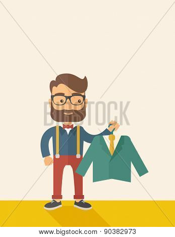 A happy young man chooses a perfect clothe to buy for him to wear. A Contemporary style with pastel palette, soft beige tinted background. Vector flat design illustration. vertical layout with text