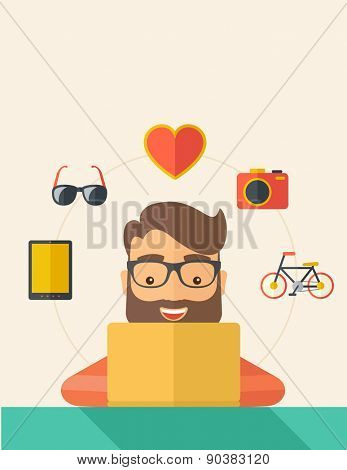 Man making a purchase using laptop with internet in online shopping with promo discount. A Contemporary style with pastel palette, soft beige tinted background. Vector flat design illustration