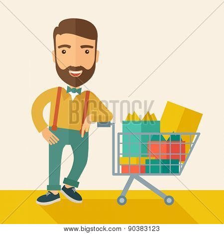 A happy man standing with his shopping cart. A Contemporary style with pastel palette, soft beige tinted background. Vector flat design illustration. Square layout.