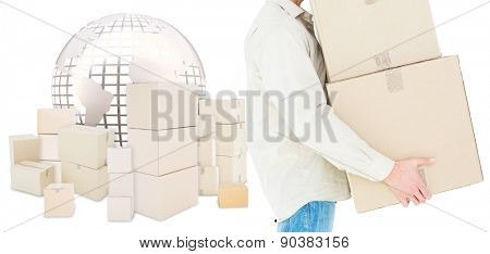 Delivery man carrying cardboard boxes against logistics concept