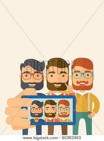 A three happy men taking a selfie using smartphone. A Contemporary style with pastel palette, soft beige tinted background. Vector flat design illustration. Vertical layout with text space on top part