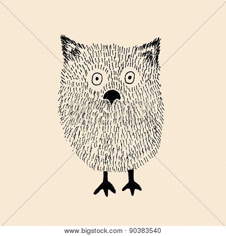 Hairy Baby Owl Vector Illustration