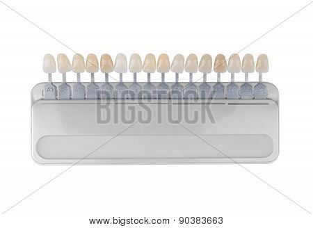Palette Of Shades Of Teeth Isolated On White
