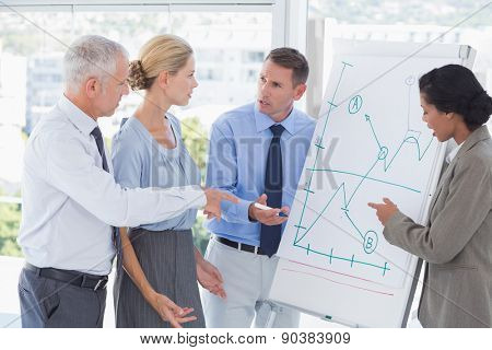 Business team talking about the graph on the whiteboard in the office