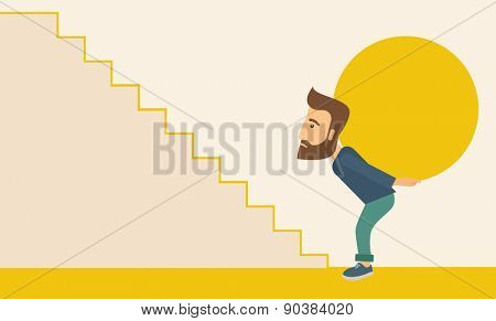 A businessman sacrifice in carrying a big ball going up to reach the goal. A Contemporary style with pastel palette, soft beige tinted background. Vector flat design illustration. Horizontal layout.