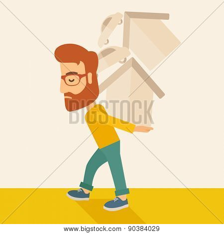 A sad man carrying house and car as his loan or debt from the bank. A Contemporary style with pastel palette, soft beige tinted background. Vector flat design illustration. Square layout.