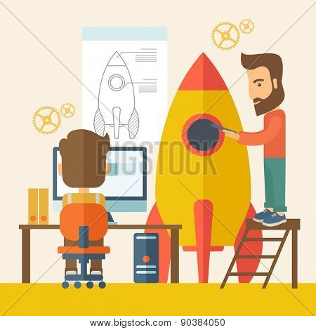 Two man to launch for new start up idea in business. Business concept. A Contemporary style with pastel palette, soft beige tinted background. Vector flat design illustration. Square layout