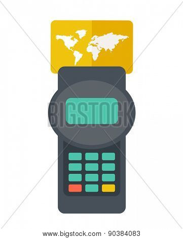 A credit crad machine Contemporary style with pastel palette, soft orange tinted background. Vector flat design illustrations. Square layout with text space in right side