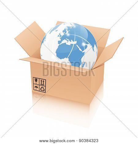 Earth in an open cardboard box