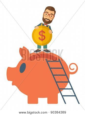 A young man saving his money by putting a coin in big piggy bank using a ladder. Saving concept. A Contemporary style. Vector flat design illustration isolated white background. Vertical layout.