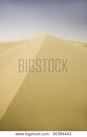 Sand dunes of a desert, footprints