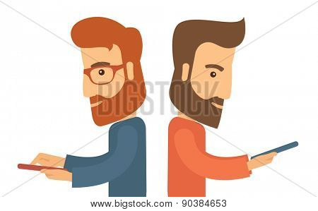 A two businessmen using their mobile phone for business proposal. A contemporary style. Vector flat design illustration with isolated white background. Horizontal layout.