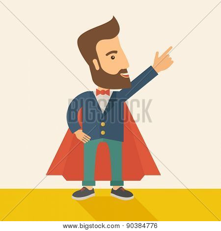 Superhero man pointing upward aiming higher sales in business. Business growth. A Contemporary style with pastel palette, soft beige tinted background. Vector flat design illustration. Square layout.