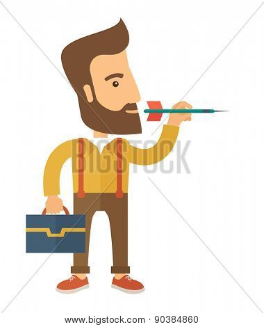 A man holding a target arrow looking for the target pad for him to achieve his goal A contemporary style. Vector flat design illustration with isolated white background. Vertical layout.