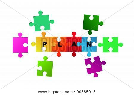 Jigsaw puzzle of plan word