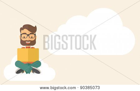 A Businessman having a great idea while reading a book. Business concept. A Contemporary style with pastel palette, soft beige tinted background. Vector flat design illustration. Horizontal layout