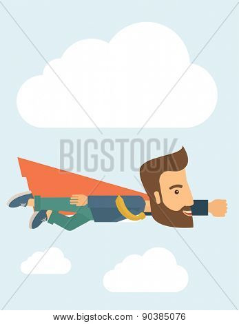 A super businessman flying high to achieve his goal. Leadership concept. A Contemporary style with pastel palette, soft blue tinted background with desaturated clouds. Vector flat design illustration