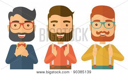A three young handsome businessmen with different color of hair. Successfully reach their target in marketing. A contemporary style. Vector flat design illustration with isolated white background