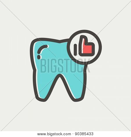 Healthy tooth icon thin line for web and mobile, modern minimalistic flat design. Vector icon with dark grey outline and offset colour on light grey background.
