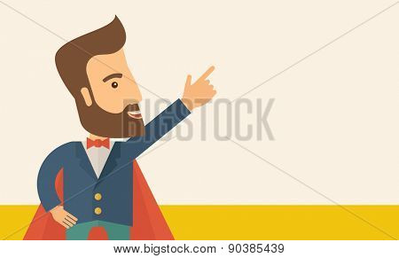 Superhero man pointing upward aiming higher sales in business. Business growth. A Contemporary style with pastel palette, soft beige tinted background. Vector flat design illustration. Horizontal