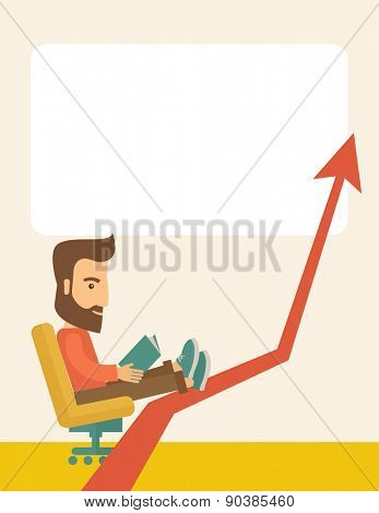 A caucasian sitting, relaxing in increasing business.  Progress business concept. A Contemporary style with pastel palette, soft beige tinted background. Vector flat design illustration. Vertical