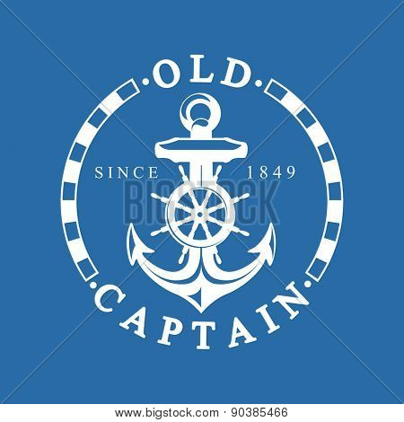 Old Captain Nautical Background With Anchor