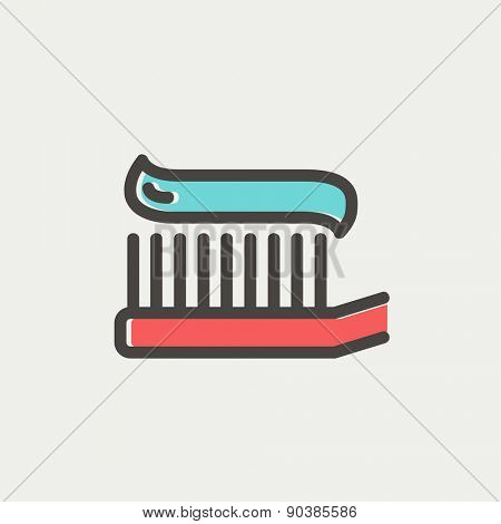 Toothbrush with toothpaste icon thin line for web and mobile, modern minimalistic flat design. Vector icon with dark grey outline and offset colour on light grey background.