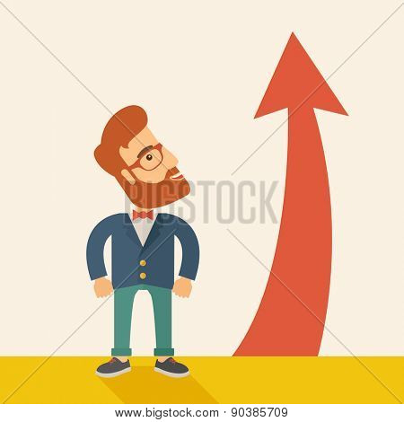 A hipster businessman standing beside the red arrow pointing up. Successful business concept. A Contemporary style with pastel palette, soft beige tinted background. Vector flat design illustration