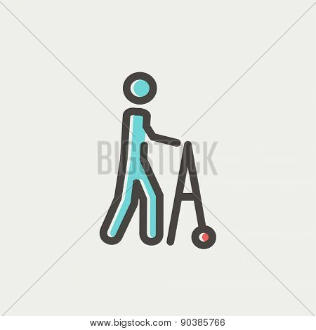 Disabled person with walker icon thin line for web and mobile, modern minimalistic flat design. Vector icon with dark grey outline and offset colour on light grey background.