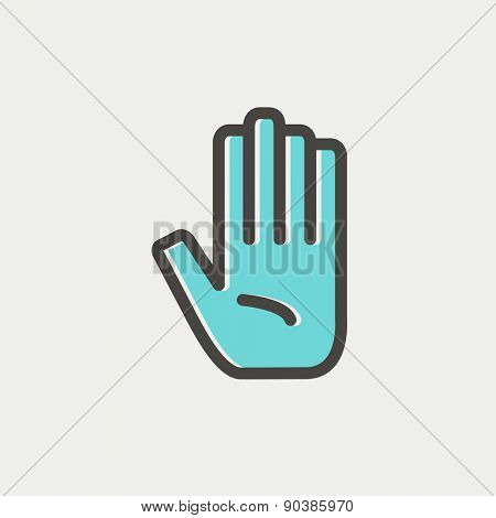 Hand icon thin line for web and mobile, modern minimalistic flat design. Vector icon with dark grey outline and offset colour on light grey background.