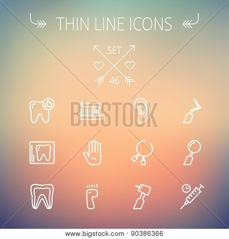 Medicine thin line icon set for web and mobile. Set includes- tooth, toothbrush, dental tools, foot, hand, syringe icons. Modern minimalistic flat design. Vector white icon on gradient mesh background.