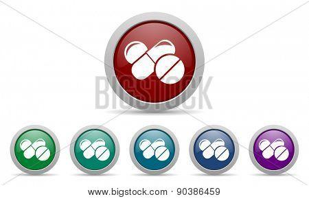 medicine icon drugs symbol pills sign