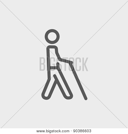 Man with stick icon thin line for web and mobile, modern minimalistic flat design. Vector dark grey icon on light grey background.