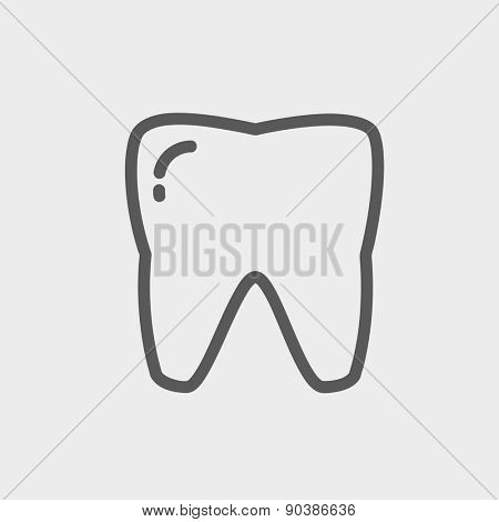 Tooth icon thin line for web and mobile, modern minimalistic flat design. Vector dark grey icon on light grey background.