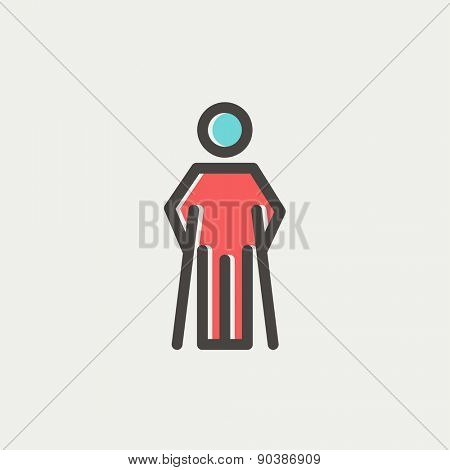 Injured man with crutches icon thin line for web and mobile, modern minimalistic flat design. Vector icon with dark grey outline and offset colour on light grey background.