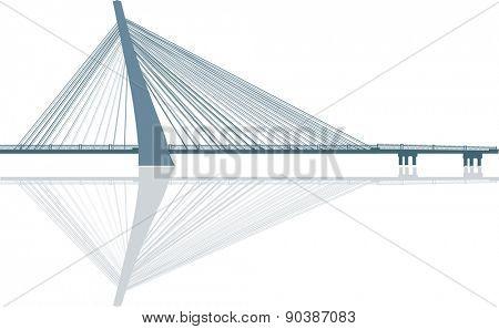 illustration with bridge isolated on white background